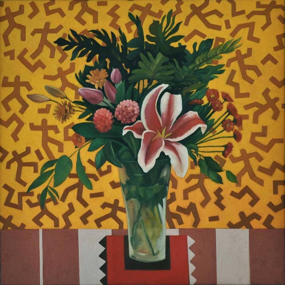 Bodegón con ramo de flores, cuadro pintado con acrilicos