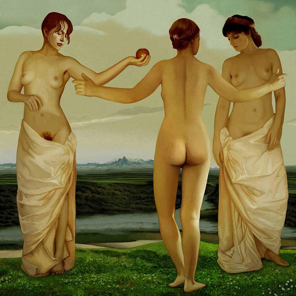 """mitología grecorromana, esta imagen es la obra Las tres Gracias, 100×100 cm. De la serie """"Mitologías Jesús Zatón"""","""