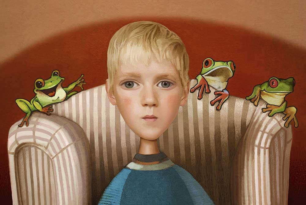Niño con tres ranas 2