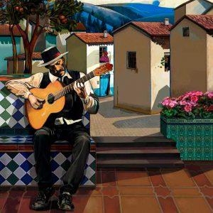 Flamenco. Hombre tocando la guitarra