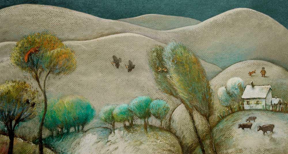 paisaje con nieve Idílico paisaje invernal en el que frente a un grupo de montañas cubiertas de nieve, podemos ver a un niño con un perro, una casa con cerco, vacas, pájaros, y diversos animalillos en un colorido conjunto de árboles.