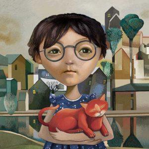 niña con gato rojo
