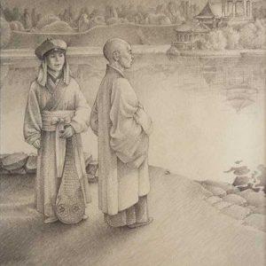 ilustracion a lapiz del libro La ruta de la seda
